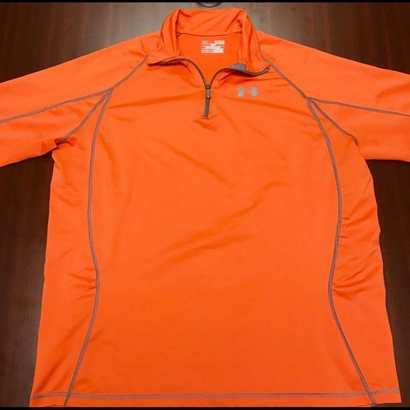Under Armour Sweaters Orange Cold Gear Loose Mens 14 Zip Poshmark